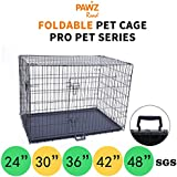 "PAWZ Road Pet Dog Metal Wire Cage Crate Kennel Double Door Folding | 24"" 30"" 36"" 42"" 48"""