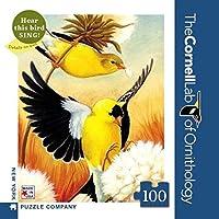 ニューヨークパズル会社–コーネルラボAmerican Goldfinch Mini–100ピースジグソーパズル