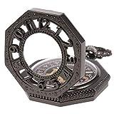 SIBOSUN 八角形 カバー  懐中時計 おすすめ 手巻き 機械式 男性 アンティーク チェーン  ブラック 黒 スケルトン