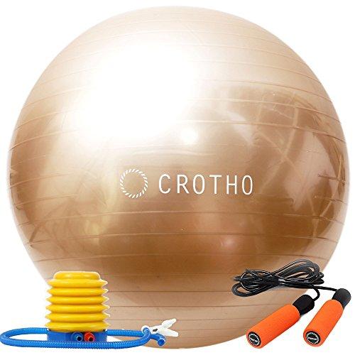 【CROTHO(クロート)】iPhoneのカラーバリエーションを連想させる CROTHOならではのi-color(アイ・カラー) 選べる5色!バランスボール&なわとび Set ヨガボール エクササイズボール 55~65cm 空気入れ CROTHO特別セット フットポンプ付き (シャンパンゴールド) (シャンパンゴールド/55cm)
