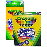 Crayola ultra-clean Washable Largeクレヨン8 Pieces 2 - Pack + ultra-clean Washable Fine Lineマーカー8パック – 非毒性 – カラーリングバンドルパック
