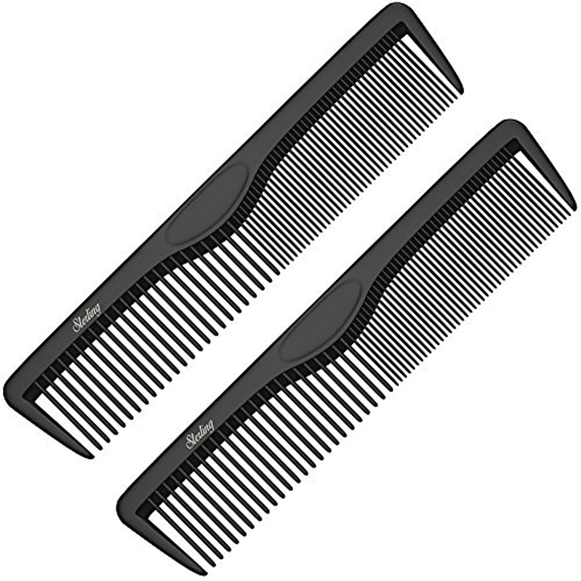 融合観察彼女Pocket Combs | 2 Pack | Professional 5 Inch Black Carbon Fiber Hair Comb | Fine And Wide Tooth Travel Comb Set...