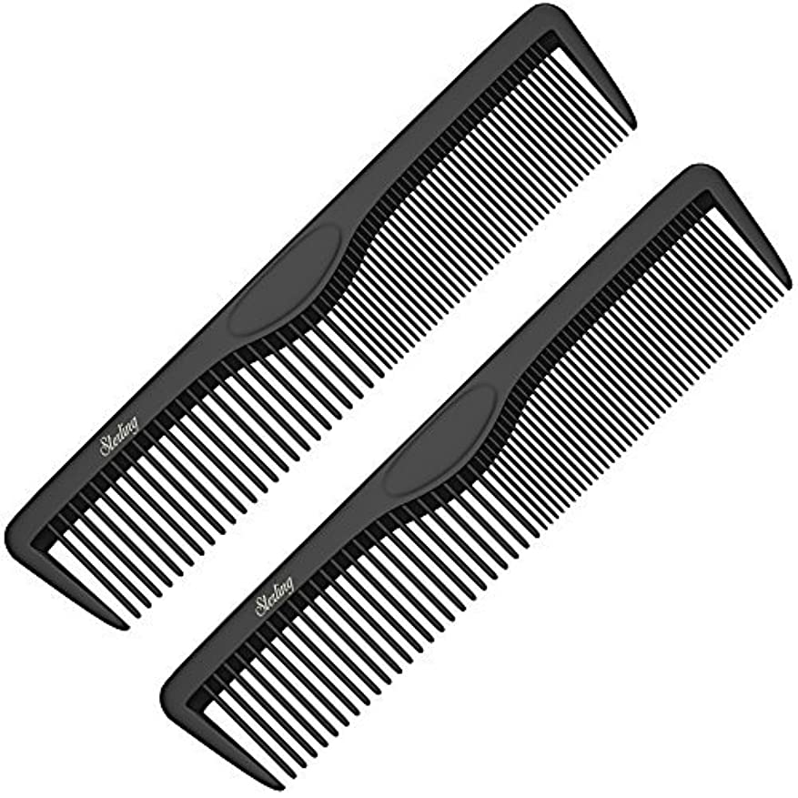 Pocket Combs   2 Pack   Professional 5 Inch Black Carbon Fiber Hair Comb   Fine And Wide Tooth Travel Comb Set...