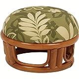(籐)ラタンクッション付正座椅子丸24ファブリックhagi