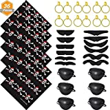 Jetec 36 Pieces Pirate Costume Set Includes Cotton Pirate Bandana Self Adhesive Fake Mustache Plastic Pirate Eye Patch and Earring for Halloween Themed Party Decoration [並行輸入品]