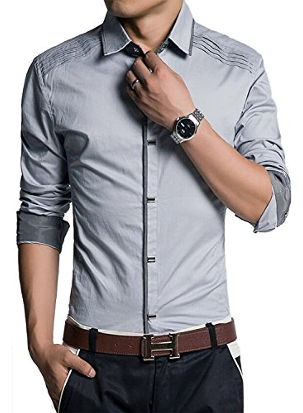 興味樫の木ラケット(アザブロ) AZBRO メンズ 長袖ワイシャツ 綿高率 ゴージャス 純色 長袖 ボタンアップ シャツ豊富な5サイズ