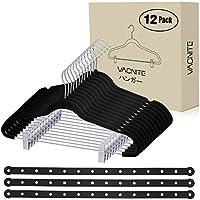 VACNITE 衣類ハンガー 12本セット すべらない ズボンハンガー 強力クリップ付き くぼみ付 跡がつかない 型崩れしない 多機能 省スペース (ブラック)