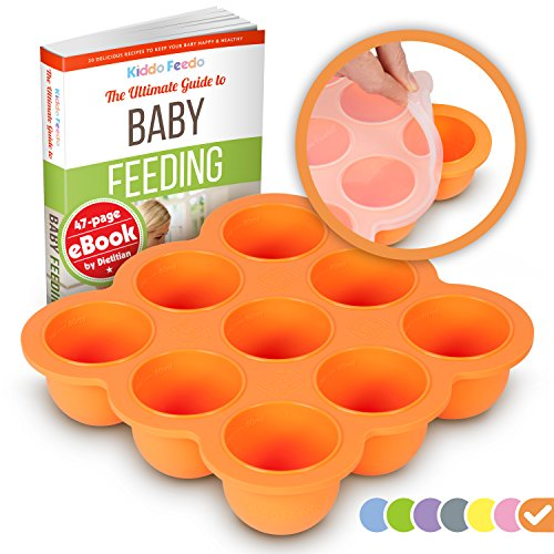KIDDO FEEDO Baby Feeding and Storage Container Tray with Silicone Clip-On Lid - 9x75ml Easy-Out Portions - BPA Free and FDA Approved - Free eBook by Award-Winning Author/Dietitian - Orange