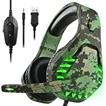 ENVEL Noise Cancelling Gaming Headset with 7.1 Surround Sound Stereo for PS4/Nintendo eShop Switch,Omnidirectional Microphone Vibration LED Light Compatible with Mac/PC/Laptop/Mac/PS3 Camo