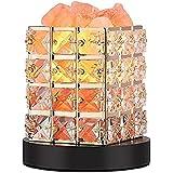 Lucktao テーブルランプ センサー 水晶岩塩ランプ 天然塩製ランプ 安眠効果 おしゃれ クリスタル 調光 空気浄化 天然のヒマラヤ塩灯水に塩を飾ります 木製の台座日本ポーズ認証調光スイッチプラグ 空気 浄化ランプ マイナスイオンランプ