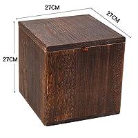 固体木製正方形収納スツール,リビング ルーム角スツール用カバー付き創造的な純色レトロな靴ベンチ-ブラウン