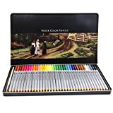ARIES 色鉛筆 36色 水彩色鉛筆 水筆1本付き 塗り絵 スケッチ 平缶パッキング 収納・携帯便利