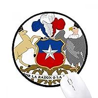 チリ国家エンブレムの国 ラウンド・ノンスリップ・マウスパッド・ブラックtitched端ゲームオフィス贈り物