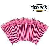 Shintop 100pcs Eyelash Mascara Brushes Disposable Eye Lash Wands Applicator (Pink)