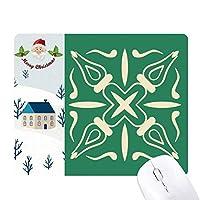 緑の装飾的なパターンは、タラベラスタイル サンタクロース家屋ゴムのマウスパッド
