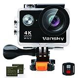 アクションカメラ Vansky 4K高画質 WiFi搭載 30M防水 1200万画素 2インチ液晶画面 【一年保証】リモコン付き 170度広角レンズ ハルメット式 スポーツカメラ バイク/自転車/車に取り付け可能 ウェアラブルカメラ HD動画対応 防犯カメラ・ドライブレコーダーも使用可能