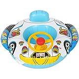 浮き輪 ベビー 足入れ 水遊び 子供 ベビーボート 水泳 プール 海用 ハンドル付 車の形 スイム席 夏グッズ アウトドア ブルー