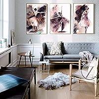 Faaddd 抽象的な水彩画ポスタープリント壁アートキャンバス絵画ダンスガール写真壁の装飾用リビングルームの壁フレームなし40×60センチ×3フレームなし