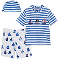 A&J DESIGN Kids Boys Two Piece Rash Guard Short Sleeve Swimsuits Set with Hat