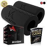 Activグリップ–太いバートレーニングアダプタ[ 1セット] W / Bonus E Book / / FatグリップアタッチメントFits onバーベル、ダンベル、添付ケーブルfor Extreme Muscle Growth–前腕強化、二頭筋、上腕三頭筋 ブラック