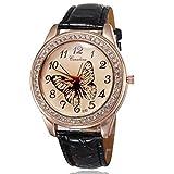 (オンラインで購入しやすいです) BUYEONLINE レディーズラインストーンのカジュアルとローズゴールドメッキPUレザーストラップ腕時計 ブラック