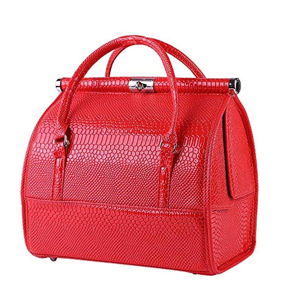 革命カーフ宿泊施設化粧オーガナイザーバッグ 女性の女性のための美容メイクアップのためのポータブル化粧品バッグ旅行と折り畳みトレイで毎日のストレージ 化粧品ケース