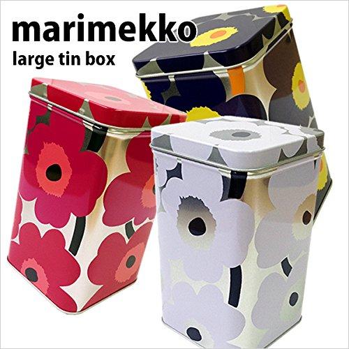 マリメッコ【marimekko】ティンボックス ラージ tin box ブリキ製 小物入れ 缶 ウニッコ柄 北欧 雑貨 シルバー 花柄 マルチケース 064459