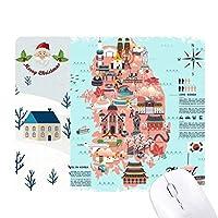 韓国の目印を示している地図 サンタクロース家屋ゴムのマウスパッド