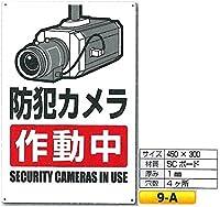 「防犯カメラ作動中」標識 9-A H450×W300mm