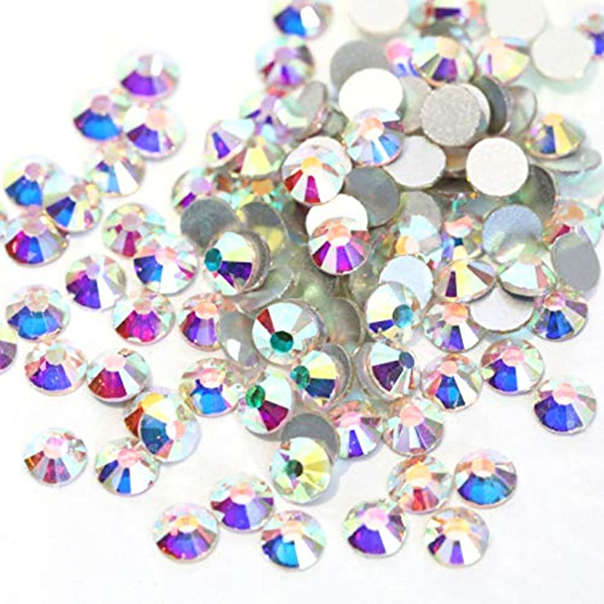 酸素滴下完璧な【ラインストーン77】高品質ガラス製ラインストーン 色/サイズ選択可 SS3~SS50 (オーロラクリスタル, SS34:約7.1mm(約280粒))