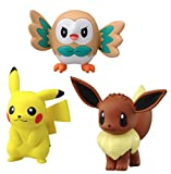 Takaratomy Sun & Moon Mini Figureセットof 3–Pikachu ( emc-01、Eevee ( emc-09、Rowlet ( emc-02)