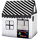 Flovingキッズテント 子供用 Kids Tent 子供テント プレイテント 折り畳む テントハウス子供 テントおもちゃ子供用 設置簡単 収納ケース付き 室内室外両方使用可能 秘密基地 隠れ家 知育玩具 おままごと 子供部屋 黒ストライプ