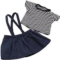 Dovewill 18インチアメリカンガールドール対応 ファッション ストライプ Tシャツ ショルダーストラップ スカート