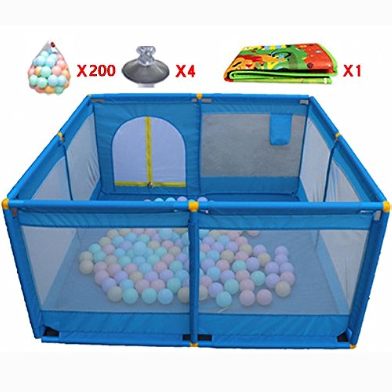 ボールとマットパッド付きのポータブルベビープレイペン青い子供の子供の遊びペンルームの折り畳み式ディバイダーオックスフォードクロス8サイドパネル (色 : 200 Balls)