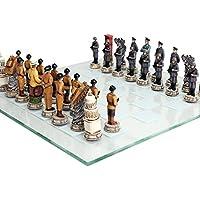 第2次世界大戦テーマチェスセットUS vsドイツハンドペイントガラスボード