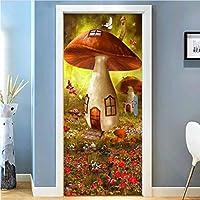 Lcymt きのこハウス3D漫画子供部屋寝室のドアステッカーウォールペーパー壁画Pvc防水自己接着壁飾り-400X335Cm