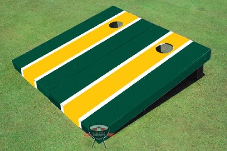 イエローコーン穴、一致するダークグリーンロングストライプボードCornhole Game Set