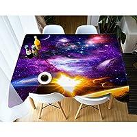 3Dパープルユニバーステーブルクロスファミリーレストランホテルポリエステル装飾テーブルリネン (Size : 216*216cm)