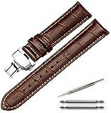 Calme(カルム) 腕時計 ベルト 本革 ワンプッシュ Dバックル レザー 12㎜ 14㎜ 16㎜ 17㎜ 18㎜ 19㎜ 20㎜ 21㎜ 22㎜ 24㎜ 5色 (16㎜, ダークブラウン(白ステッチ))