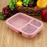 Wheat Straw Bento Box 3 Grids With Lid Microwave Food Box Biodegradable Storage Container Lunch Bento Box Dinnerware Set