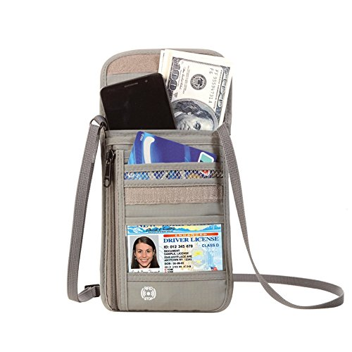 首下げバッグ 貴重品ケース iPhone 6/6S/7 Plus収納可 パスポート入れ スキミング防止 バッグインバッグ 斜め掛け アウトドア 海外旅行 トラベル ネックポーチ