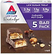 Atkins Endulge Caramel Nut Chew Bars | Keto Friendly Bars | 5 x 34g Low Carb Caramel Chocolate Bars | Low Carb