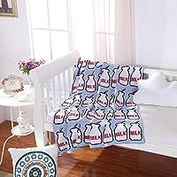 iSunShine Baby Pure Cotton Cable Knit Jacquard Cuddle Receiving Swaddle Blanket, Baby Bottle Patterns 50x63, Large, Blue by iSunShine