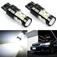Wincar車用T20 7440 7443 LEDバルブ、フォグランプ、ブレーキランプ、ターンシグナルランプ 50Wハイパワー 10連高輝度CREEチップ搭載、6000K白 (2個セット)