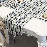 テーブルランナー ホームデコレーション 北欧 おしゃれ 長方形 エレガント モダン シンプル 結婚式 クリスマス (Color : Blue)