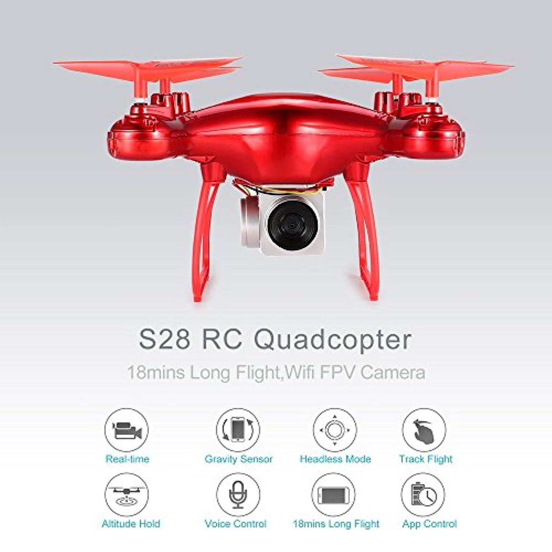 S28 RCドローン2.4GクアドコプターWifi FPVカメラ18分ロングフライト?標高ホールド