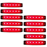 来慶(ライケイ) LED 6連 サイドマーカー (赤) 24V 10個セット カスタム デコトラ イルミネーション