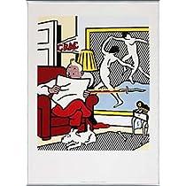 ポスター ロイ リキテンスタイン 新聞を読むタンタン 1993年 額装品 アルミ製ベーシックフレーム(シルバー)