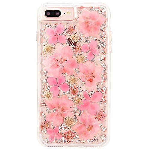 Case-Mate iPhone 8 Plus ワイヤレス充電対応 ケース 5.5インチ (iPhone 7 Plus/iPhone 6s Plus/6 Plus) カラット ペタル ピンク 美しい 押し花 純銀箔 クリア おしゃれ キラキラ ラメ 二重構造 ハイブリッド アイフォン8 Plus カバー 米軍MIL規格準拠 CM036176