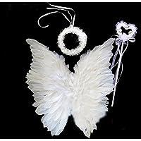 [FERE8890] レディース メンズ 翼 天使 天使の羽 子供 ハロウィン クリスマス Xmas 3点セット カチューシャ ステッキ 羽 フラワーガール コスプレ 道具 パーティー 舞台用 仮装 翼